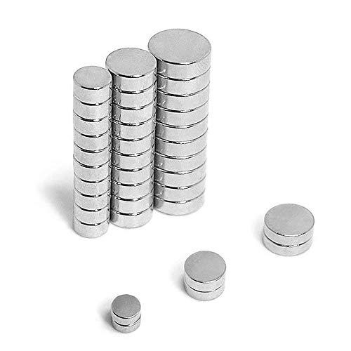 FEYG Magnete 60 Stück 6X3mm 8x3mm10X3mm mit Aufbewahrungsbox, für DIY Craft Office Pinnwand, Whiteboard, Kühlschrank, Magnettafel