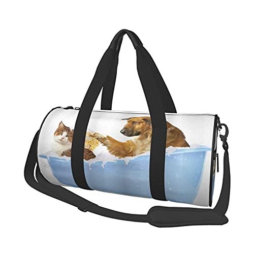 ADONINELP Reisetasche Seesack Hund und Katze in der Badewanne , Zylinder Reisetasche Mode Leinwand Licht Tragegurt Gepäcktasche