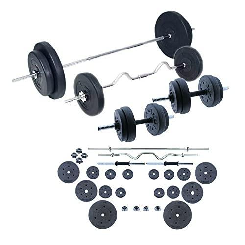 Grupo K-2 Riscko Set de Pesas 90 kg con Barras y Mancuernas en Color Negro