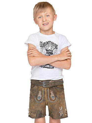 Stockerpoint Trachten Kinder Lederhose mit Gürtel kurz Bayern JR hanf, Gr. 110-116