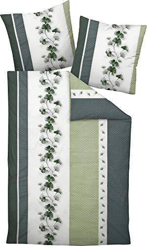 Janine Bettwäsche Mako-Soft-Seersucker grün-grau Größe 135x200 cm (80x80 cm)