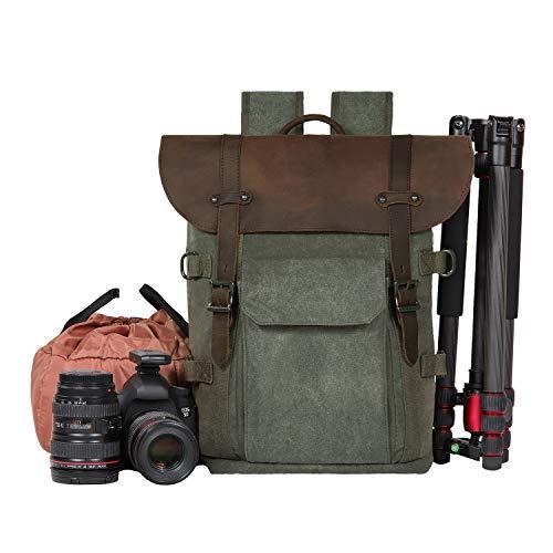 Kamera Rucksack, SLR Camera Bag Waterproof Batik Canvas Retro Fashion Digital Camera Backpack (Armee grün)