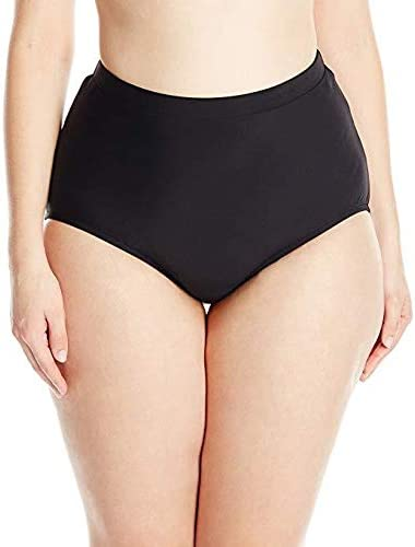 Penbrooke Women's Plus Size Swimwear Solid Basic Tummy Control Full Coverage Brief Swim Bottom