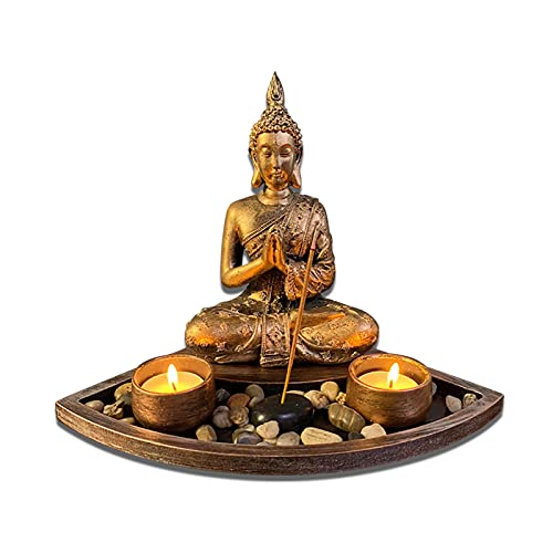 JONJUMP Thai Buddha Statue Candlestick Candle Holder Buddha Statue Burner Incense Holder Buddha Tea Lamp Holder Resin Decoration