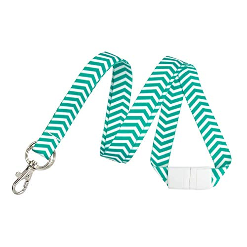 Cute Chevron Lanyard with Lobster Claw Clasp and Key Chain Ring - Keychain Neck Strap for Badge Holder, Keys and I'd Cards by Specialist ID (Green)