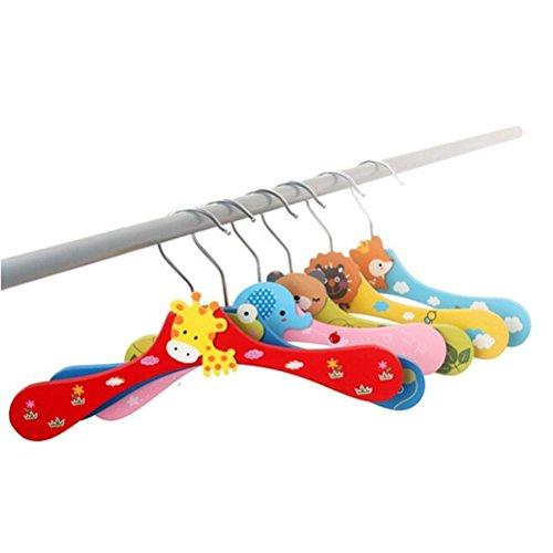 Tinksky 10 Piezas Perchas de ropa Madera para Percha Niños Bebé (Patrón Aleatorio)