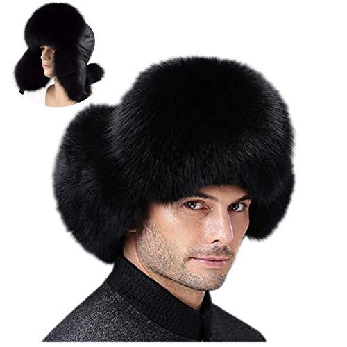 ZIYIUI Men's Leifeng Hats Winter Warm Thick Fox Fur Raccoon Cap Outdoor Fox Middle-Aged Lei feng Hat (Black)