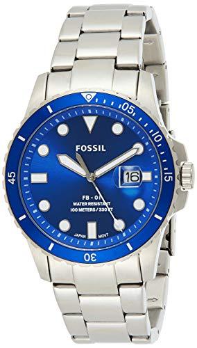 Fossil Herren Analog Quarz Uhr mit Edelstahl Armband FS5669