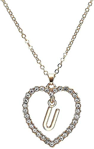 NC110 Necklace Women S Heart Shape Letter Pendant Necklace Summer Style Crystal Chain Necklace Ornaments Girlfriend Gift YUAHJIGE