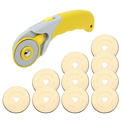 AUTOTOOLHOME 45mm Rotary Cutter Set with 10 Pack Titanium Rotary Blades Fabric Cutter SKS-7 Quilting Sewing Patchwork Tool