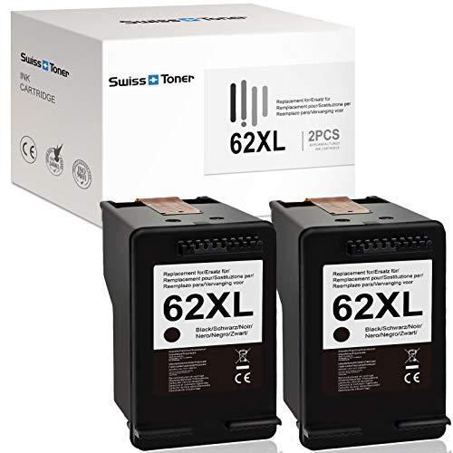 SWISS TONER 62XL - Cartuchos de tinta compatibles con HP 62 XL para HP Envy 7640 7645 8000 8005 5640 5642 5643 5644 5646 5660 5665 Officejet 5740 5742 5745 746 8 040 8045 Impresora (2 negras).