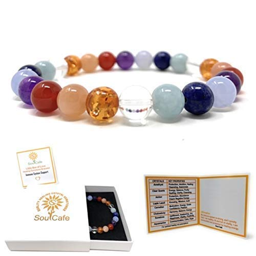 Immune System Bracelet - Power Bead Bracelet - Healing Crystal Gemstones - Gift Box and Information Tag