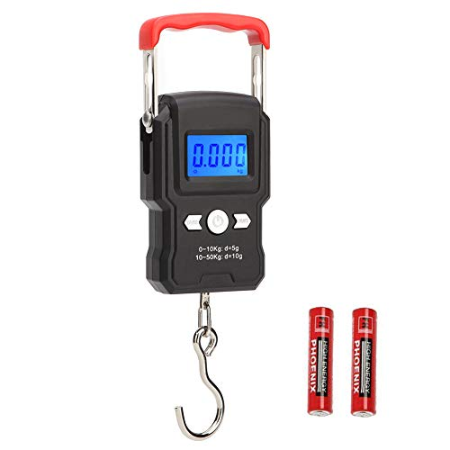 HANWELL 50kg/110lb Digital Luggage Scale with 4 Units, Electronic Travel Hanging Scales with Backlit Display/Tare/Data Hold Function - Portable for Handheld Suitcase (Red 50kg Luggage Scale)