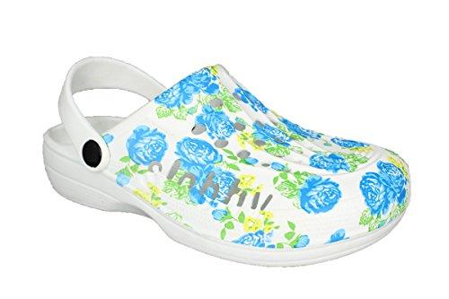 Slobbys Damen Eva Clogs   Hausschuhe Gartenclogs   Freizeit Sommer Arbeit Schuhe Gr.36-42   (40, 00572 Blau)