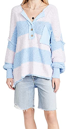 Free People Women's Road Trip Henley, Ethereal Sky Combo, Blue, Stripe, X-Small