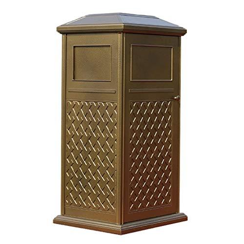 Liushop Cubos de Basura para Exterior Lujoso Cubo de Basura Cuadrado de Aluminio Fundido Villa al Aire Libre Jardín Papelera con cenicero Contenedor residuos (Color : Gold)
