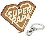LIKY® Super Papa - Llavero Original de Madera Grabado Regalo para día del Padre cumpleaños pasatiempo joyería Colgante Bolso Mochila
