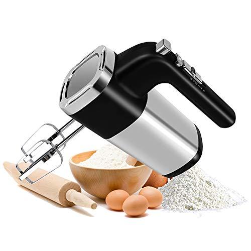 500W Professionele elektrische handmixer Krachtige garde met 7 snelheden voor het bakken van eierroom in de keuken, inclusief kloppers en deeghaken,Silver