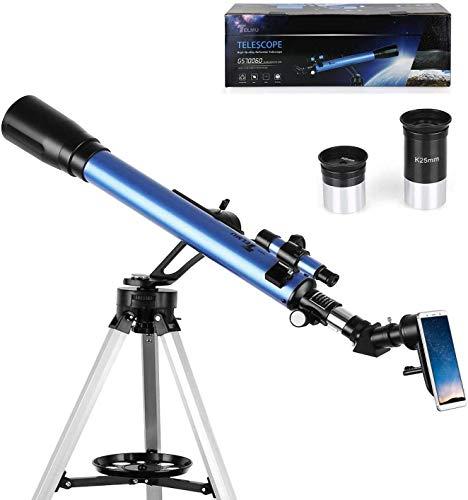 TELMU Teleskop 60 / 700mm Astronomisches Teleskop mit 5x24 Suchfernrohr Refraktor Teleskop für Einsteiger, Amateur-Astronomen für Beobachtung von Himmel und Landschaft (mit Smartphone Adapter)