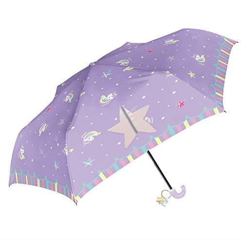 折りたたみ傘子供キッズ手開き軽量親骨50cm開閉らくらく指をはさまない女の子ユニコーンki-087(パープル)