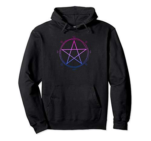 Bisexuelle Pentagramm Wiccan Pagan Bi Pride Flagge Floral Pullover Hoodie