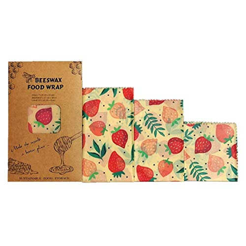NICROLANDEE Beeswax Wraps Food Wraps Strawberry Wrap Eco-Friendly Reusable and Washable Food Wraps Plastic Free Best Perfect for Food Storage Set of 3