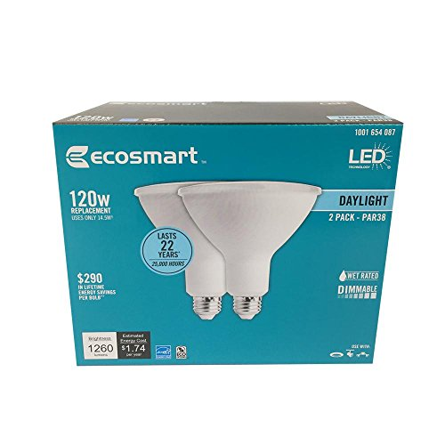 EcoSmart 120W Equivalent Daylight PAR38 Dimmable LED Flood Light Bulb (2-Pack)