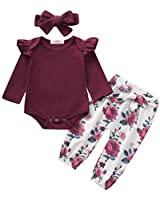 Newborn Baby Girl Clothes Ruffle Solid Onsies Tops Pants with Headband 0-3 Months Fall Winter Baby Girl Clothes Sets Wine Red