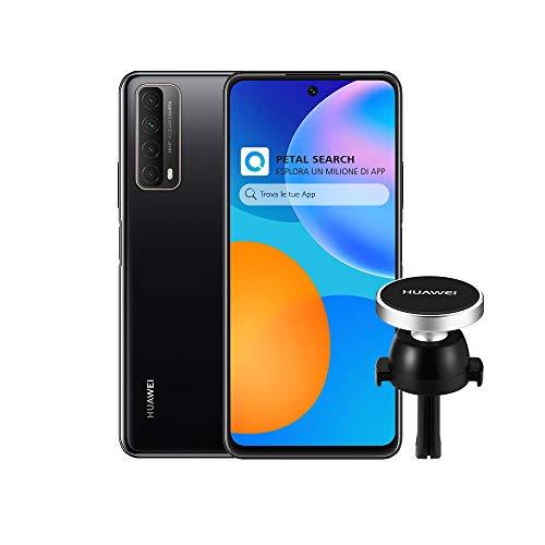 HUAWEI P Smart 2021 Smartphone e AF13 Supporto Magnetico, SuperCharge da 22.5 W, Batteria da 5000 mAh, 4 Fotocamere 48 MP, Display FHD+ da 6.67 Pollici, 4 GB di RAM, 128 GB di ROM, Midnight Black