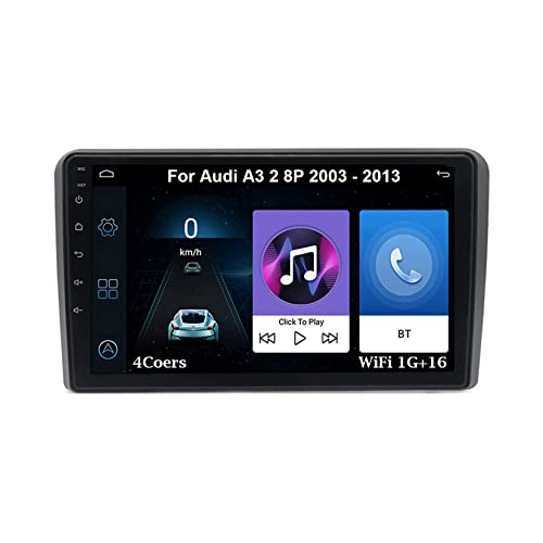 Reproductor Multimedia de Coche para Audi A3 2 8P 2003-2013 Plug and Play Compatible con Salida RCA Completa Bluet 4G WiFi Car Auto Play (4Cores WiFi 1G16G)