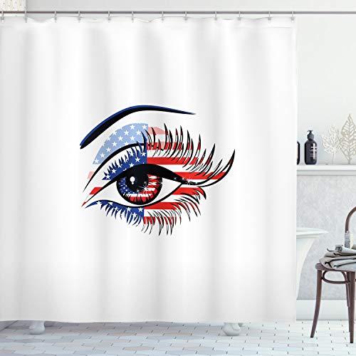 ABAKUHAUS Wimper Duschvorhang, USA Flagge weibliches Auge, mit 12 Ringe Set Wasserdicht Stielvoll Modern Farbfest & Schimmel Resistent, 175x240 cm, Marineblau Schwarz Rot
