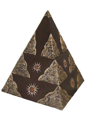 Naturesco Verzierte Dose Box Pyramide 3-teilig aus Holz braun 30 cm