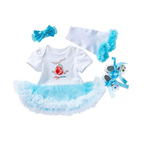 Unicoco Baby-Osterei Körper Tutu Bandeau-Kleid-Schuhe Stiefel Outfit Outfits Cotton Kleidung Set 59cm Set 4tlg