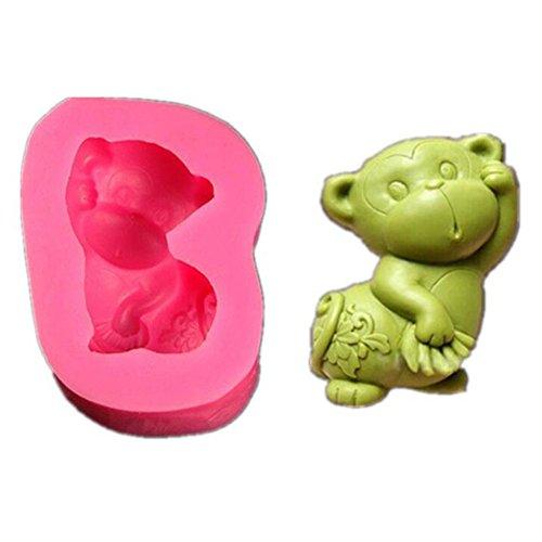 Valink silicone fondant cake Molds, 3D Zodiac scimmia animale in silicone per cioccolatini a forma di candela stampi sapone cottura muffa, torta DIY decorazione glassa Sugarcraft muffa cottura di