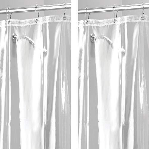 mDesign 2er-Set Duschvorhang - Badewannenvorhang mit 12 verstärkten Metallösen für einfache Aufhängung - Badzubehör in den Maßen 183 cm x 183 cm - durchsichtig