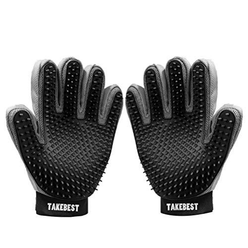 TAKEBEST Kat en Hond Huisdier Grooming Handschoen - Gentle Deshedding Brush Handschoen, 333 Needle, Zwart