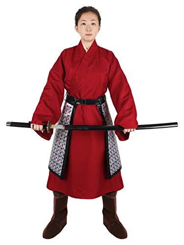 CoolChange Mulan Kostüm | Chinesische Kriegerinnen Verkleidung | Hanfu Rot | Größe: S