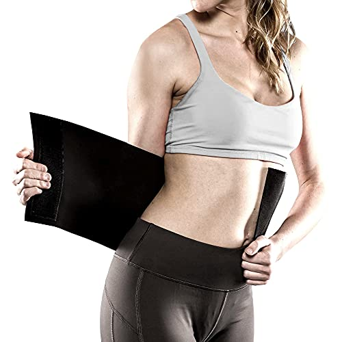 """TKO Waist Trimmer - Adjustable Ab Belt to Help You Shed The Excess Water Weight and Tone Your Mid Section (Black, 12"""" W x 43"""" L)"""