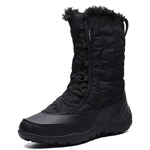Alebaba Botas de Invierno de las Mujeres de la Moda Botas de Nieve Mediados de la Pantorrilla Impermeable Zapatos de Algodón Mujer Caliente de Piel Sintética, color Negro, talla 36.5 EU