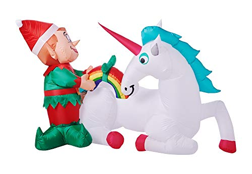 Gemmy Holiday Time Christmas Inflatable - Unicorn and Elf (7 FT Wide)