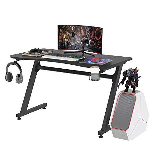 HOMCOM Mesa Gaming para Ordenador PC Escritorio de Oficina con Portavasos Gancho para Auriculares y Pies Ajustables 120x65x74,5 cm Negro