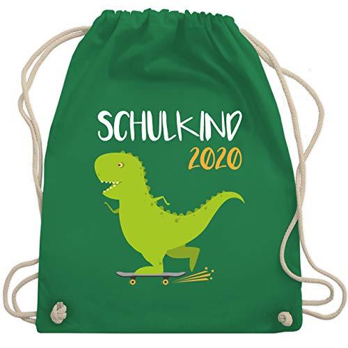 Shirtracer Einschulung und Schulanfang - Schulkind 2020 - Dino mit Skateboard - Unisize - Grün - mini rucksack - WM110 - Turnbeutel und Stoffbeutel aus Baumwolle