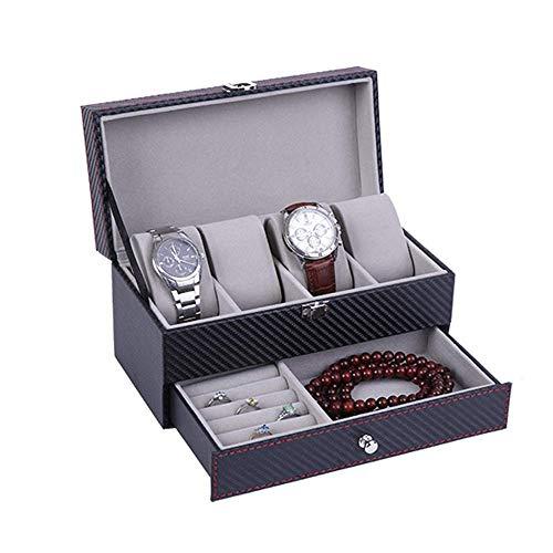 N/ A Caja de Reloj con cajón, Caja de Organizador de exhibición de Relojes Colección de Estuches de Cuero para Joyas