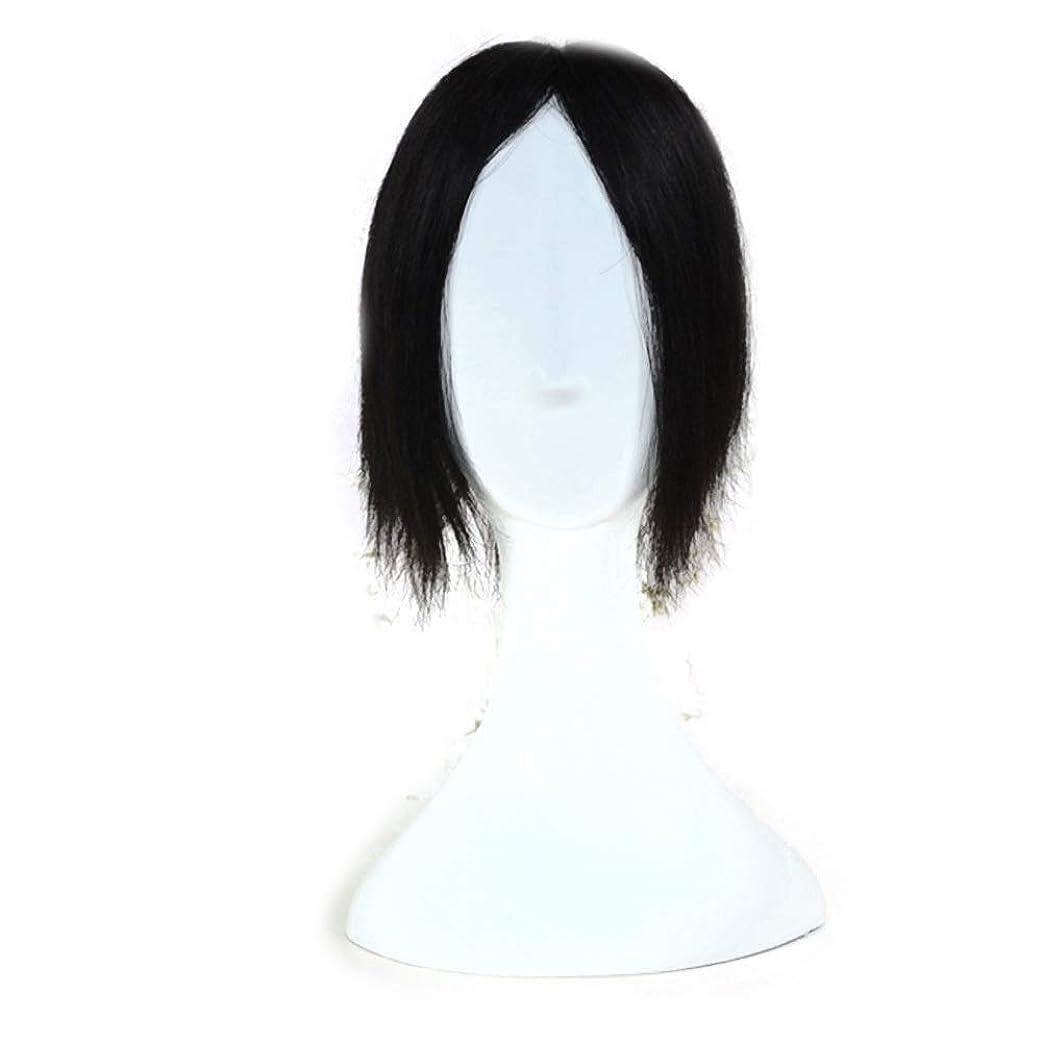 挨拶動かす女性Yrattary 男性と女性の日常の服のためのヘアエクステンションでフルハンド編みのリアルな人間のストレートヘアクリップ人工毛レースのかつらロールプレイングかつら (色 : 黒, サイズ : [13*13]15cm)
