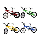 Halloluck 4 Pack Finger Bike Mini Bike Miniature Metal Toys Mini Extreme Sports Finger Bicycle Cool Boy Toy Creative Game Set Collections