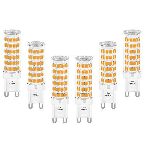 Lampade Lampadine Piccola a LED Attacco G9 GU9 7W 600Lm Sostituire Lampadina Alogena G9 60W Luce Calda 3000K AC220-240V Lot di 6 di Enuotek