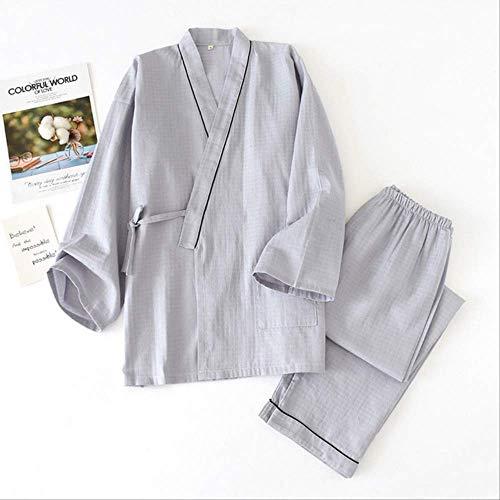 XFLOWR Herren Kimono Nachtwäsche Set Frühling und Herbst einfarbig Homewaer Gaze Baumwolle Loose Pyjamas Set 2 Stück Comfort Casual Wear M Grau