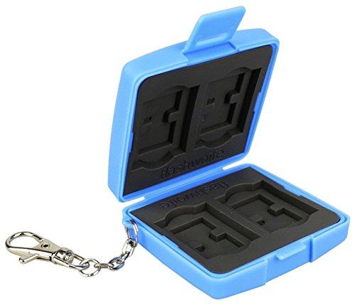 Flashwoife Turtle-SD4MSD8 staubabweisende Speicherkarten Kartenbox Schutzbox, patentierte Aufnahme, 4 x SD Karten und 8 x Micro SD Cards Case Etui, Card Safe, Karte Aufbewahrung Box Tasche, blau