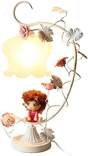 HKAFD Lámpara de Mesa lámpara de Mesa de Dormitorio jardín romántico niña decoración lámpara lámpara Conjuntos de lámpara (Color : White)