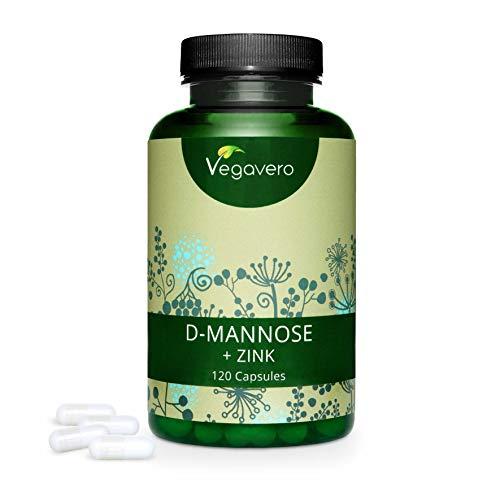D-Mannose + ZINC Vegavero | 120 Gélules | 500 mg | NATUREL - Sans Additifs | Extrait du Maïs Pur...
